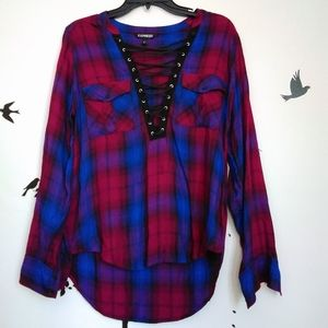 Express flannel black lace up front red blue plaid